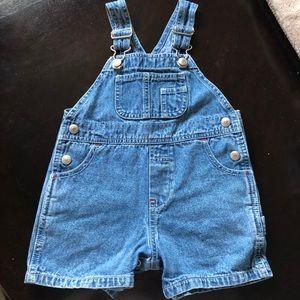 Vintage Classic Baby Gap Short Blue Jean Overalls